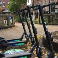 Zwings E-Scooters Parked in City Street for trial in Cheltenham and Gloucester